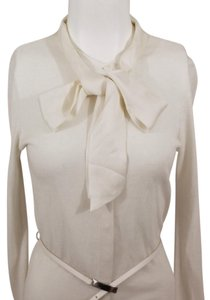e066f9143ccd5 Magaschoni Pussy Bow Tie Cashmere Cotton Luxury Top Ivory