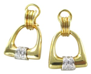 18KT SOLID YELLOW GOLD 12 DIAMONDS .12 CARAT 14.9 GRAMS FINE JEWELRY EARRINGS