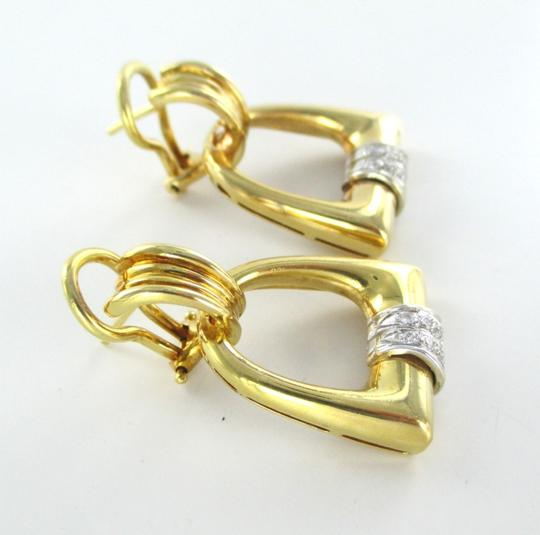 Other 18KT SOLID YELLOW GOLD 12 DIAMONDS .12 CARAT 14.9 GRAMS FINE JEWELRY EARRINGS
