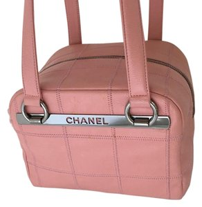 Chanel Leather Bowler Tote Pink Satchel Shoulder Bag