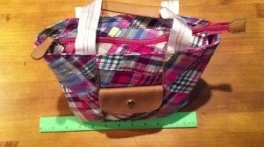 Liz Claiborne Summer Purse Tote Zip Top Great Colors Light & Breezy Golf Tennis Summer Spring Breezy Light Zip Tote Purse New Satchel in madras plaid