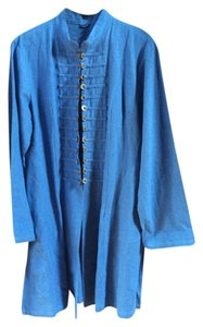 Other Linen Asian Long Hand Sewn Mandarin Collar Blue Jacket
