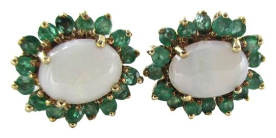 Other 10KT SOLID YELLOW GOLD EARRINGS OPAL EMERALD 3.5 GRAMS FINE JEWELRY PRECIOUS