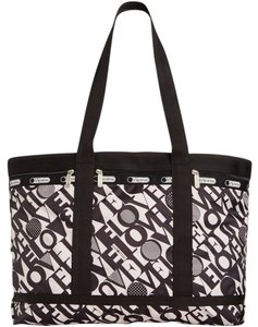 LeSportsac Travel Lightweight Nylon Tote in Black, White