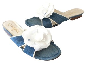 Chanel Graffiti Cambon Lambskin Leather Blue Sandals