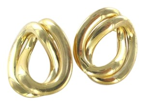 14KT YELLOW GOLD HOOP DOUBLE BUTTON MADE IN ITALY 4.9 GRAMS EARRINGS FINE JEWEL