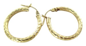 14KT SOLID YELLOW GOLD EARRINGS ETCHED HOOP 1.7 GRAMS FINE JEWELRY JEWEL KARAT