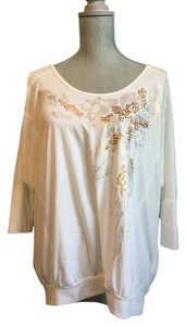 Miss Me Sequined Rhinestone Top Off white