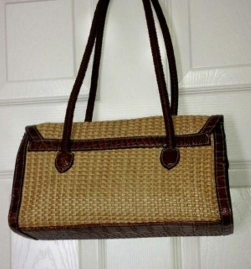 Other Satchel in Two Tone Brown Tan Beige Weave