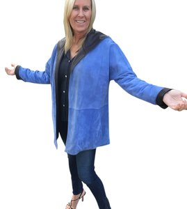 Sharon Roth Dk Chocolate and Periwinkle Leather Jacket
