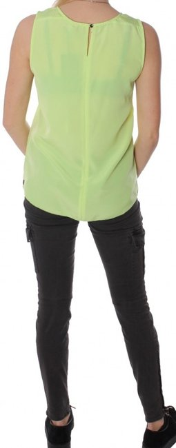 Maison Scotch Green Yellow Laser Cut And Soda Sheer Mesh Panelling Lime Lasercut Sheer Top Neon
