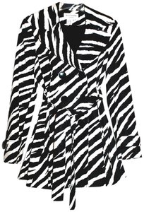 Helene Berman Zebra Double-breasted Stylish Trench Coat
