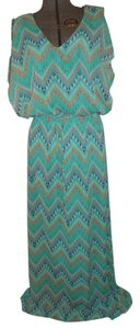 green multi Maxi Dress by Lucy Love Chevron