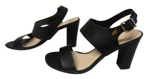 Cole Haan Leather Chunky Heel Gold Buckle And Logo black Sandals