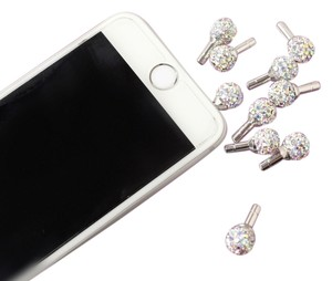 Other Bling Crystal Rhinestone Round Novelty Earphone Jack Dust Cap Plugs