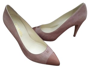 Chanel Suede Leather Cap Toe Nude Pumps