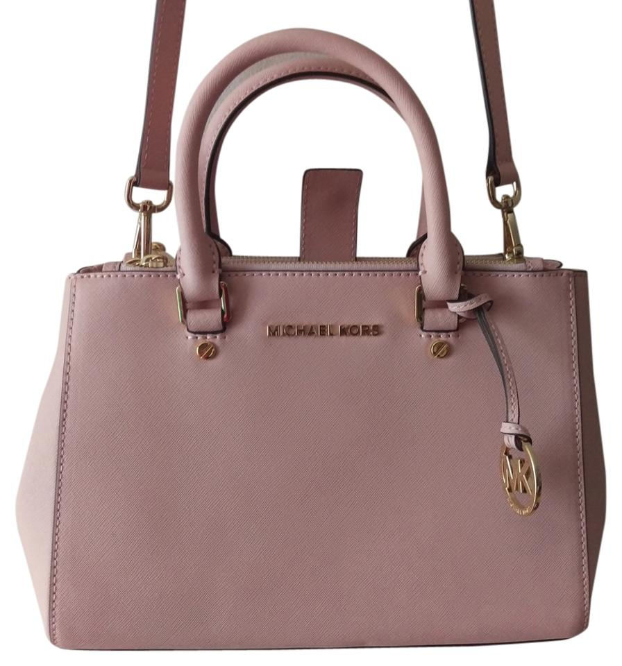 ce18270ea78a95 Michael Kors Saffiano Leather Leather Crossbody Satchel in Pastel Pink  Image 0 ...