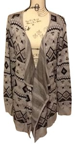 Basic Editions Women Geometric Shiny Chevron Ribbed Full Length Cardigan