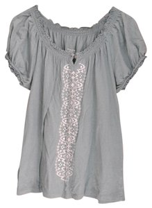 Sonoma Peasant Boho Gypsy Hippy Hippie Embroidered Gathered Sleeve T Shirt sage