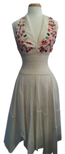 Biege Maxi Dress by Other Halter Cotton Embroidery Vacation Summer Linen