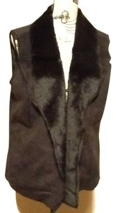 Jaclyn Smith Faux Fur Casual Collared Smooth Layering Vest