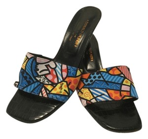 Donald J. Pliner Colorful Fabric Mostly Leather Italian Embossed Heels Multi color Mules