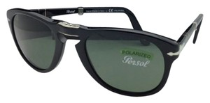 Persol New Polarized PERSOL Folding Sunglasses 714 95/58 54-21 Black Frame w/ Grey-Green Lenses