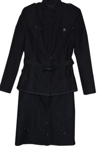 Gianfranco Ferre FERRE JEANS ITALY WOOL COTTON BLEND BLACK LINED SKIRT SUIT WOMEN SIZE: 28/42