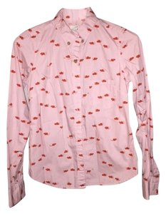 Anthropologie Odille Button Down Shirt Pink with orange mice