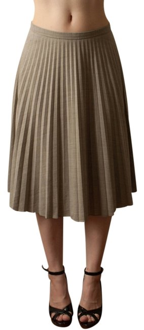 Brooks Brothers Wool A-line Pleats Pleated Accordian Pleats Knife Pleats Lightweight Summer Winter Fall Spring Taupe Beige Neutral Skirt taupe/grey
