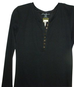 Eddie Bauer Size Large Womens Henley Style Neck Casual Buttoned T Shirt black