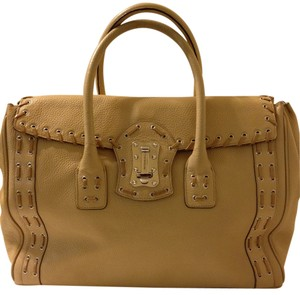 Versace Leather Whipstitch Leather Satchel in Beige