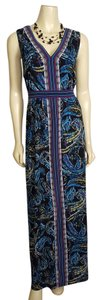 multi-colored - blue, black, purple, white and green Maxi Dress by Elle Woman Size 1x