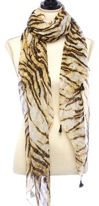 Animal Printed Oblong Scarf With Metallic Fringe