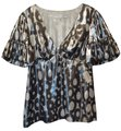 Trina Turk Neiman Marcus New With Tag New Silk Top Silver and White