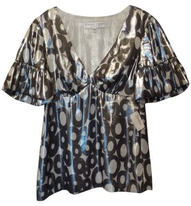 Trina Turk Neiman Marcus New With Tag Bell Sleeves New Trina Top Silver and White
