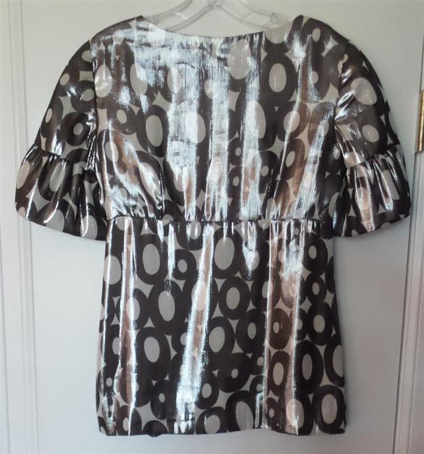 Trina Turk Neiman Marcus New With Tag Bell Sleeves New Silk Top Silver and White