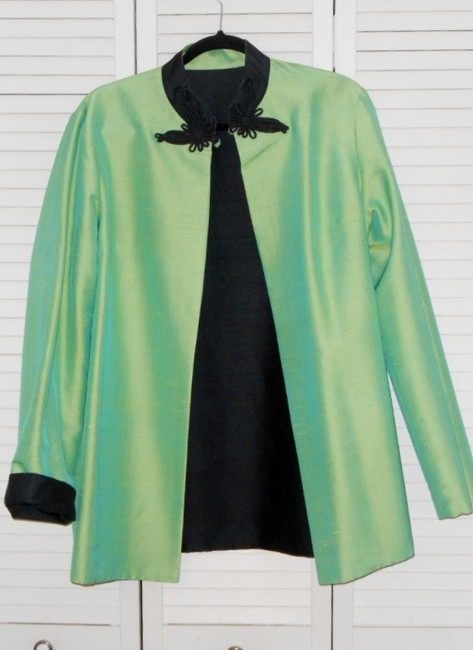 no name reversible Evening Formal Dryclean Only Holiday Top black and chartreuse