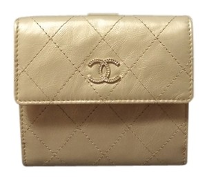 Chanel CHANEL Leather Gold S-double Wallet