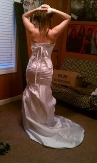 Mori Lee White Satin-faced Taffeta 1818 Sexy Wedding Dress Size 4 (S)