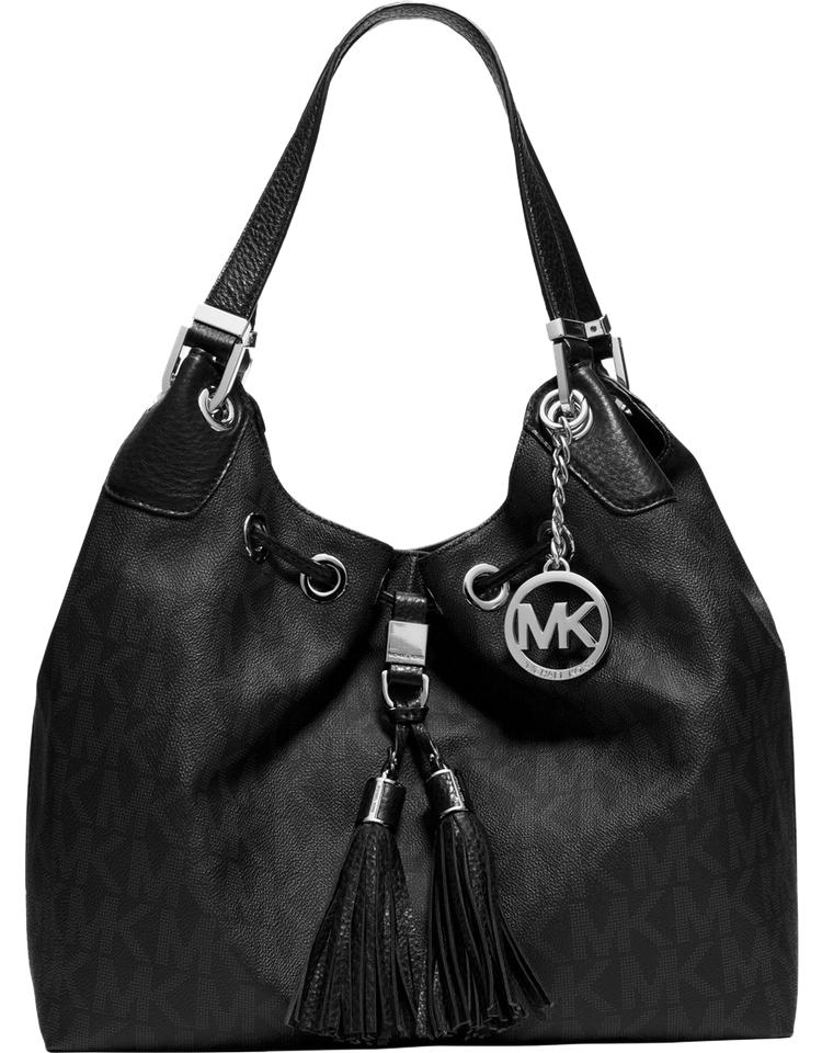 1fdfa5464a252 MICHAEL Michael Kors Large Camden Drawstring Black   Gold Mk Signature Pvc  with Leather Shoulder Bag
