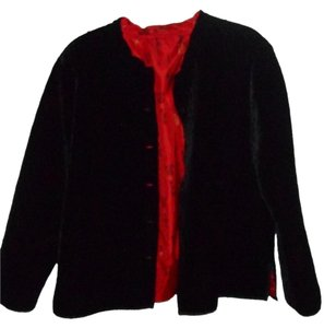 Formal black quilted velvet and red satiny oriental design Jacket