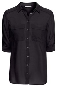 H&M 3/4 Sleeve Can Be Worn With Sleeves Buttoned Up Or Left Down Button Down Shirt Black