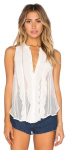Free People Boho Ruffle Sheer Buttondown Top Ivory