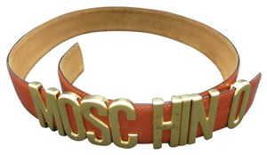 Moschino Moschino belt Large letters Burnt Siena leather size 4-6
