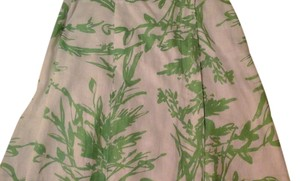 Coldwater Creek Wrap Casual Linen Skirt White & lime green print