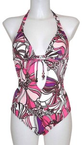 Dolce&Gabbana Pink Floral Halter Cut Out One Piece Swimsuit