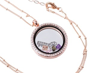 Other Rose Gold Alloy Rhinestone Floating Memory Locket
