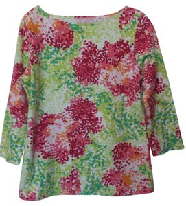 Talbots Impressionist Cotton Knit Top White, peach, pink, raspberry, and green