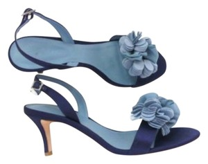 Boden Sateen & Leather Indigo Slingbacks Made In Brazil Rosette Flower Blue Pumps